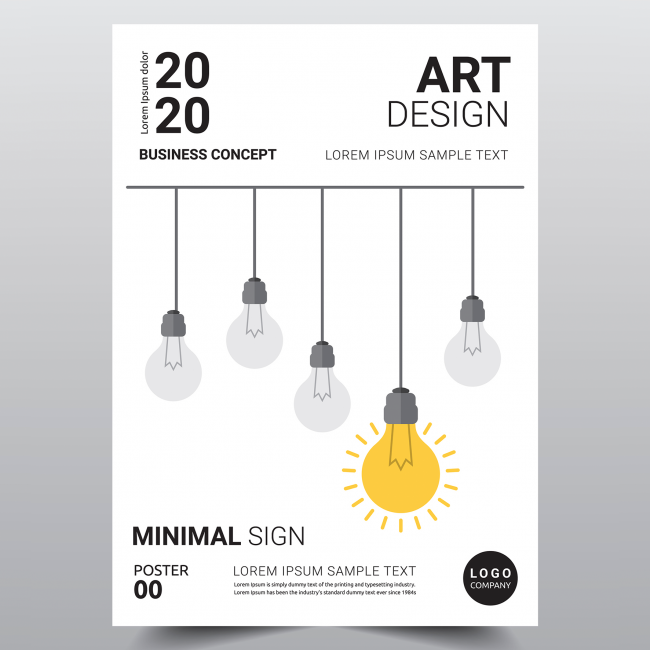 A mockup of a high end poster with a row of light bulb flowers.