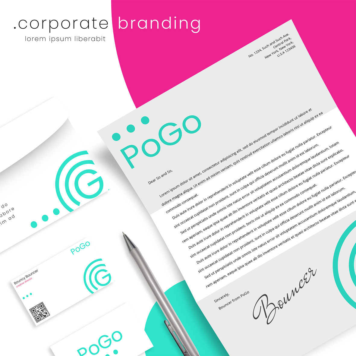 A selection of corporate branding in mint green and white. Includes a business card, envelope, letterhead and pen.
