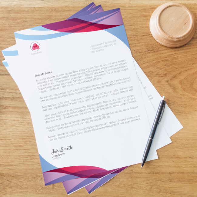 A pile of letterheads with pink, purple and blue highlights. Signed by John Smith.