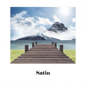 Image of a mountain opposite a lake with a boardwalk. Satin paper.