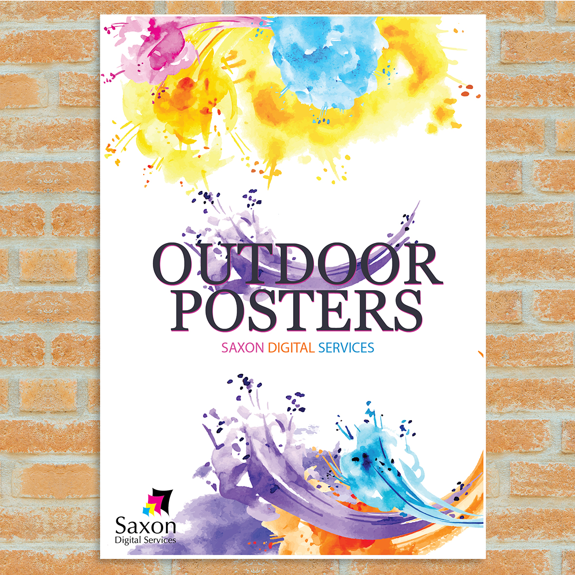 Outdoor poster by Saxon Digital Service. White poster with multicolour paint splash design.