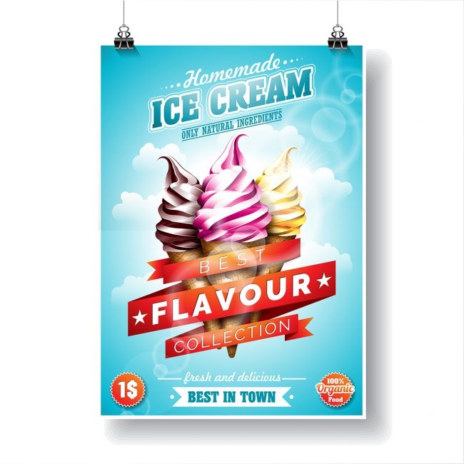 """Semi matte gloss poster. Advertises """"Homemade Ice Cream"""" with a trio of chocolate, strawberry and vanilla ice creams."""