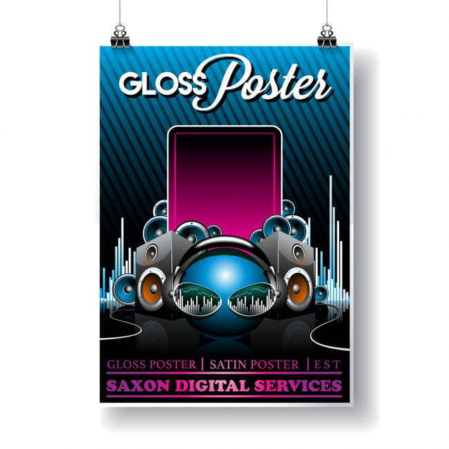 Hanging gloss poster by Saxon Digital Services. Modern music design with electronic pink and blue highlights.