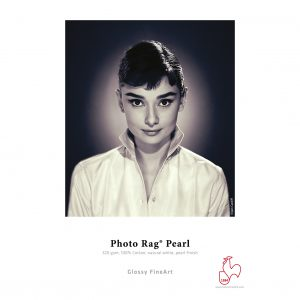 Hahnemühle Photo Rag Pearl Sample Print. Image of Audrey Hepburn in a crisp white shirt.
