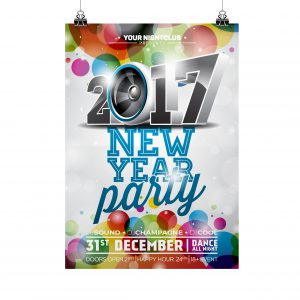 2017 New Year Party poster with multicoloured confetti design.