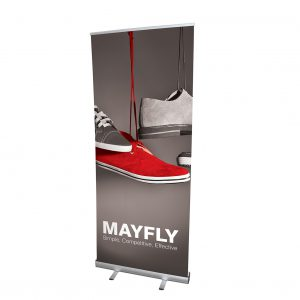 Mayfly banner with bold red shoe design. Simple, competitive, effective.