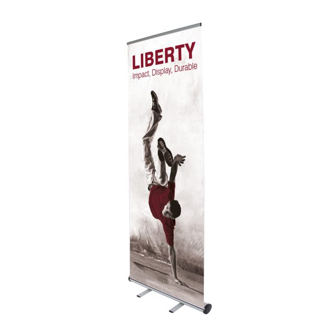 Front of a Liberty stand. Features a break dancer with a maroon t-shirt.