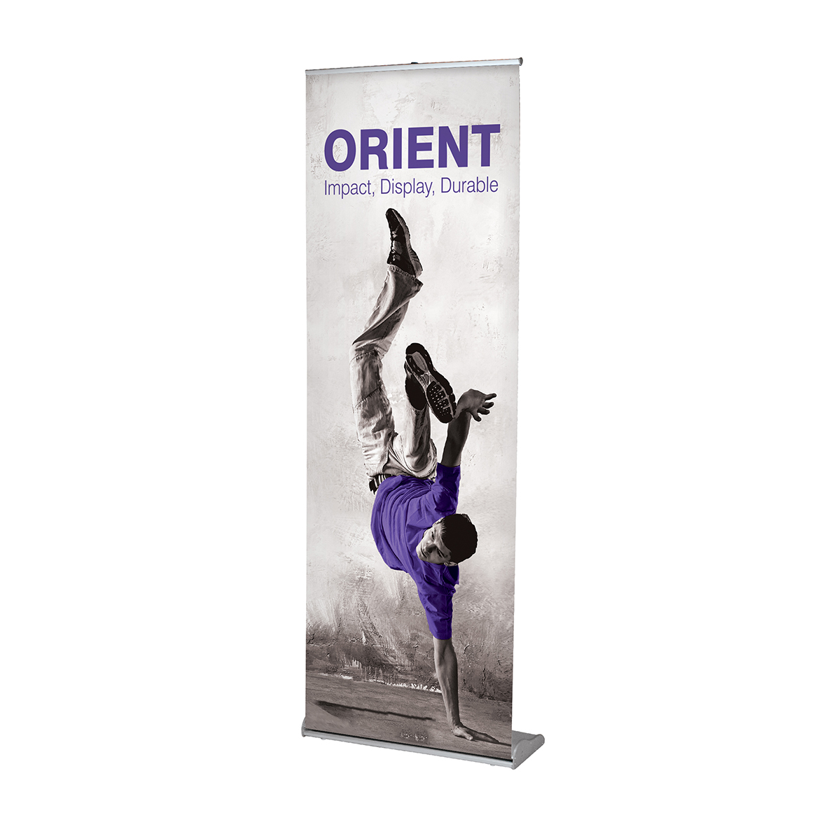 Front of an orient banner. Features a break dancer with a purple t-shirt.