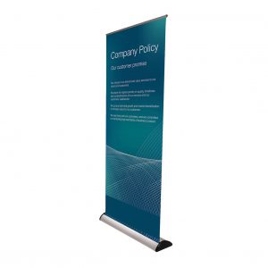 Barracuda pull up banner with a blue background and white font.