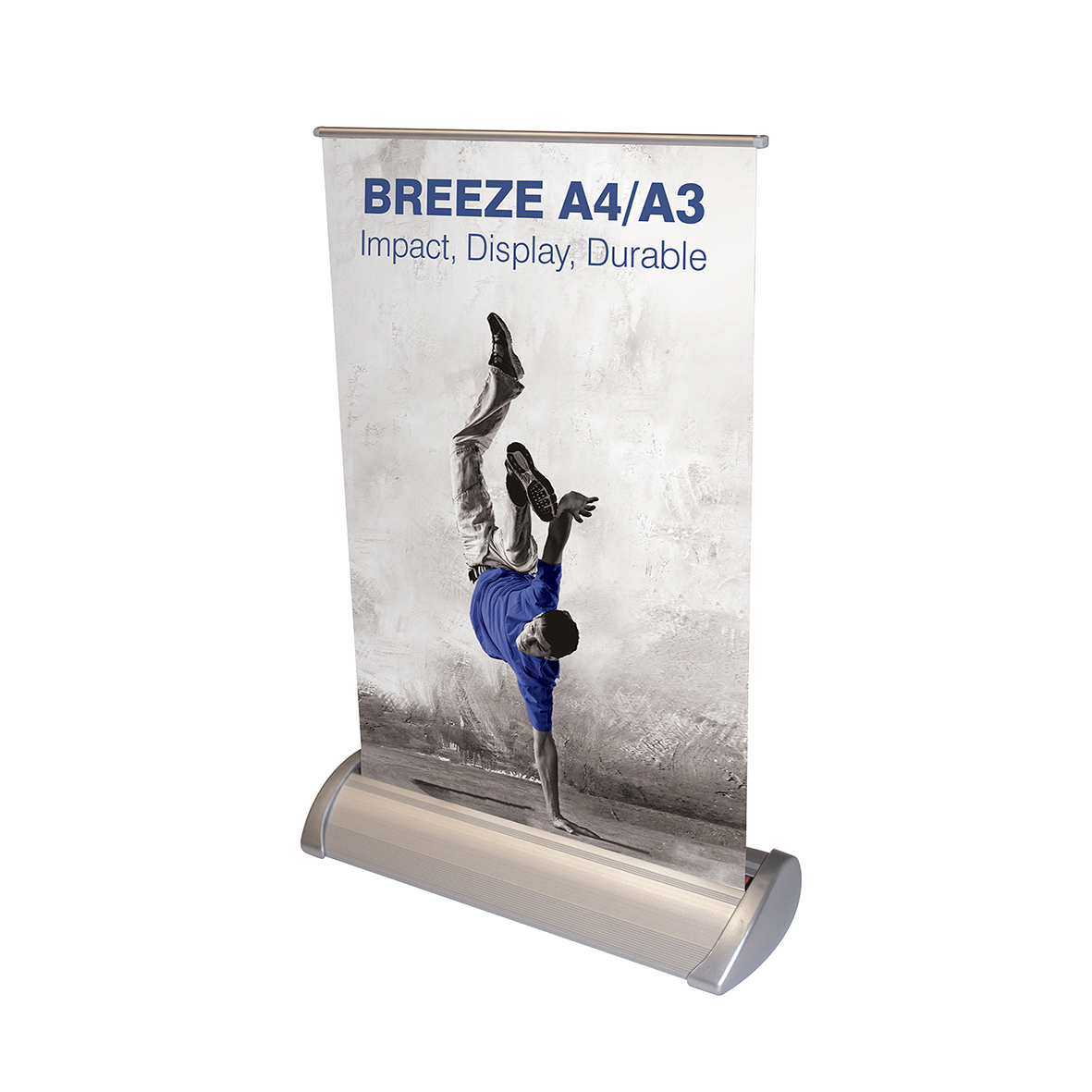 Front of a table top banner. Breeze A4/A3 style features a breakdancer in a blue t-shirt.