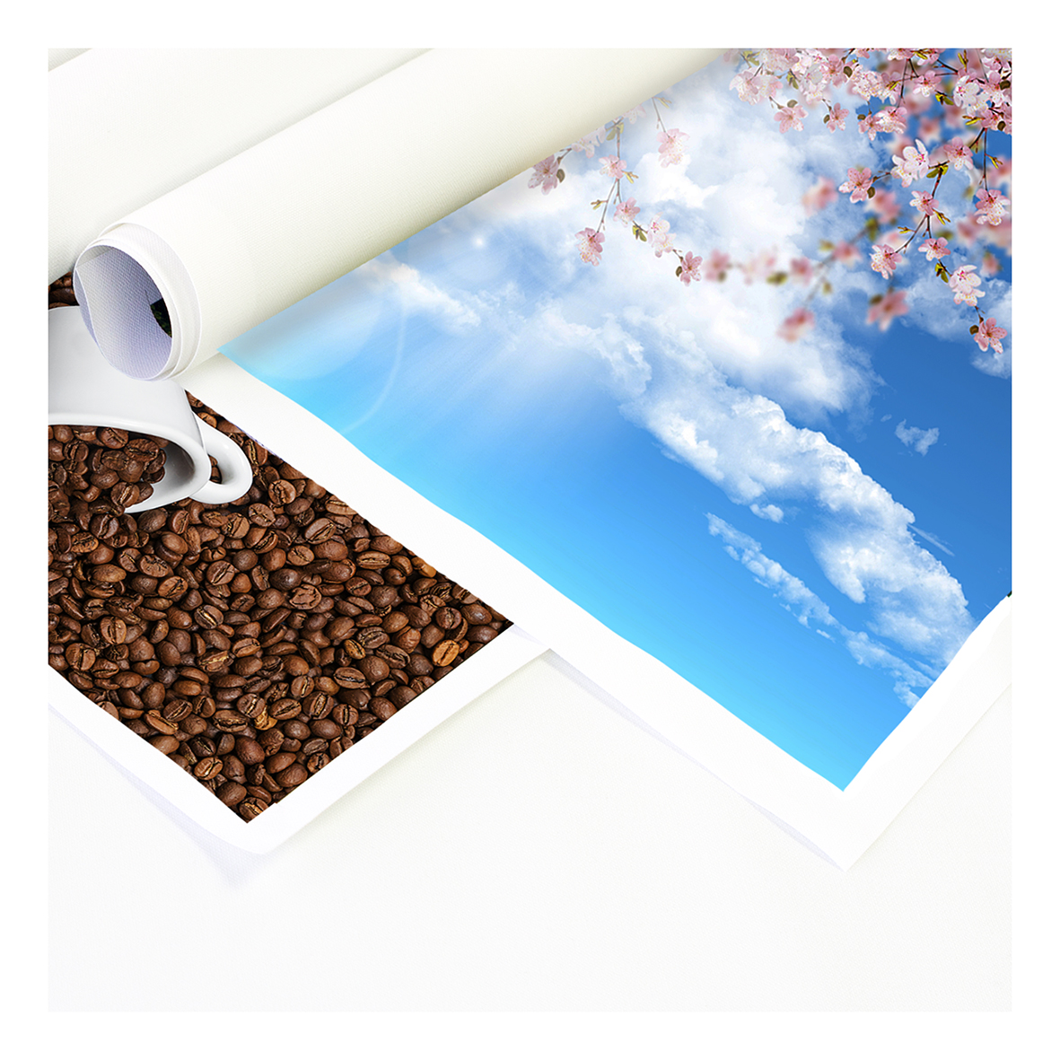 Roll of canvas paper with blue sky and blossom design.