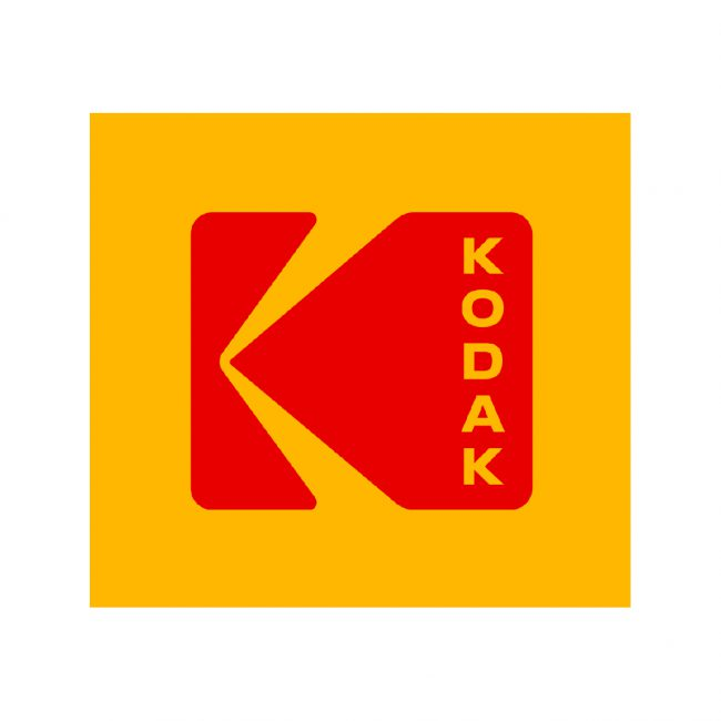 Red Kodak logo on a mustard background.