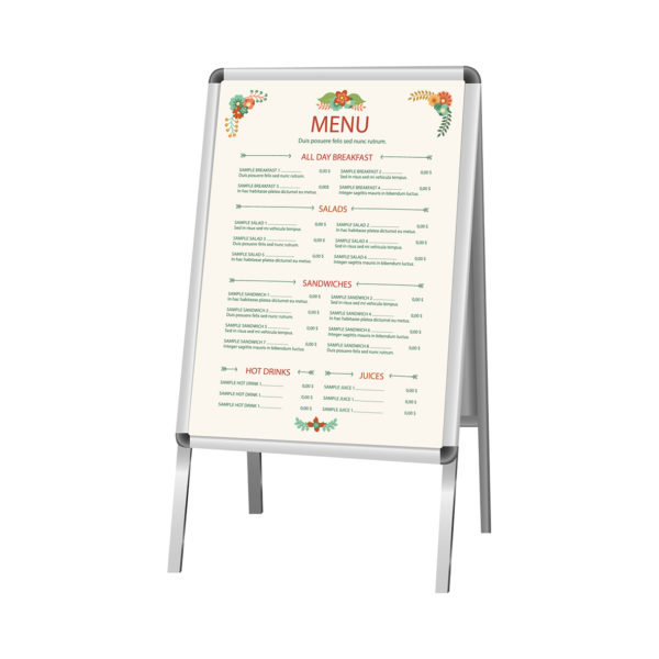 A large menu printed onto a metallic sign with four legs.