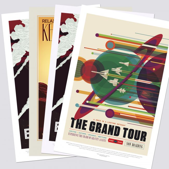 """A series of prints with vintage-style designs. The front poster is for """"The Grand Tour"""" with planet and rocket imagery."""