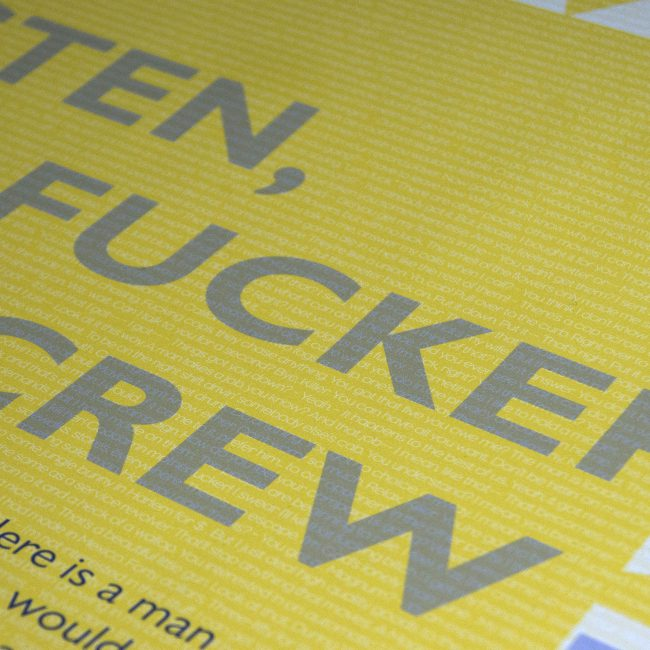 Semi Matte gloss posters with yellow background, large grey text and white text overlay.