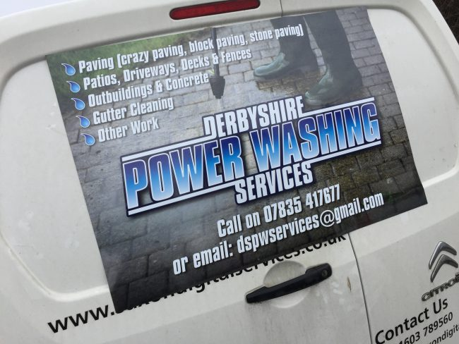 Derbyshire Power Washing Services magnetic vehicle vinyl