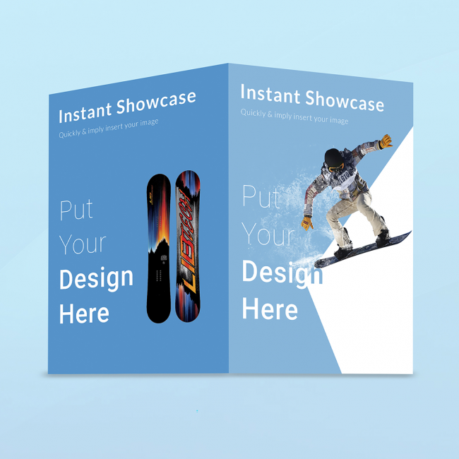 A bi-fold brochure in blue with a snowboarder on the right and a double-sided snowboard on the left.