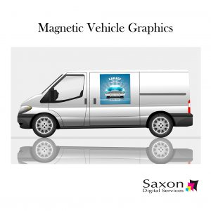 Magnetic vehicle graphics on a silver van by Saxon Digital Services.