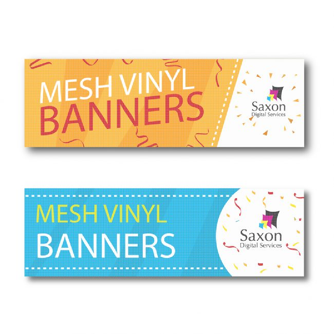 A pair of mesh vinyl banners created by Saxon Digital Services. One is blue and one is orange.