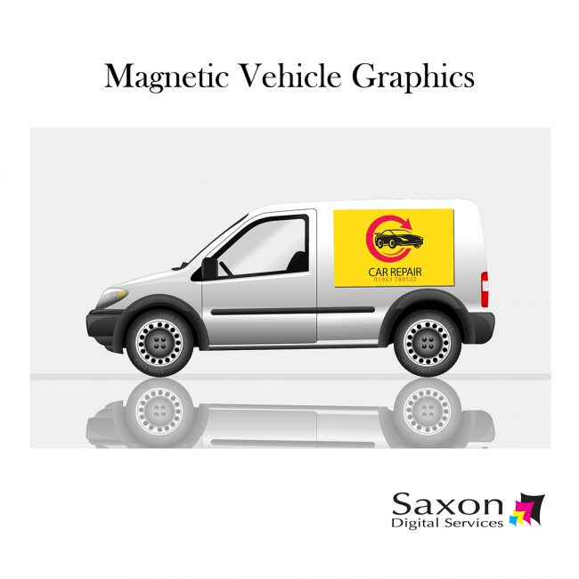 Magnetic Vehicle Graphics from Saxon Digital Services. A white van with a yellow car repair sign on its side.