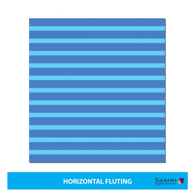 Blue horizontal fluting seen in correx boards.
