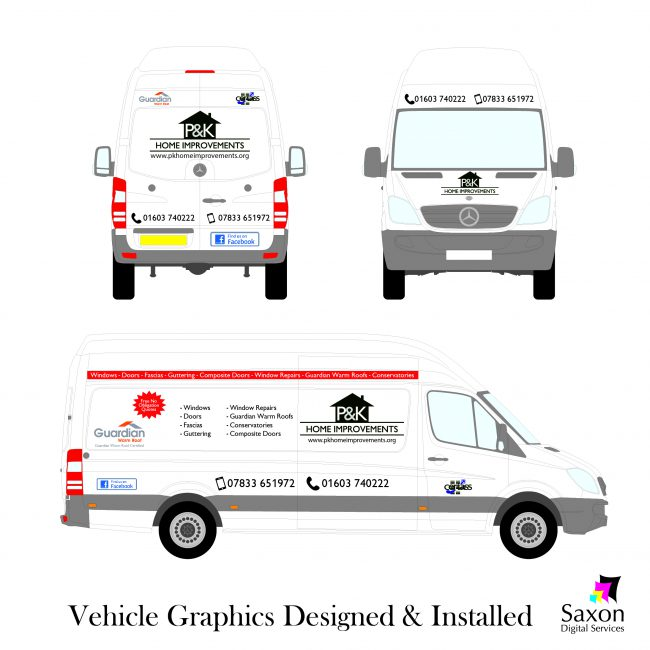 A plan for the vehicle graphics designed and installed by Saxon Digital Services.