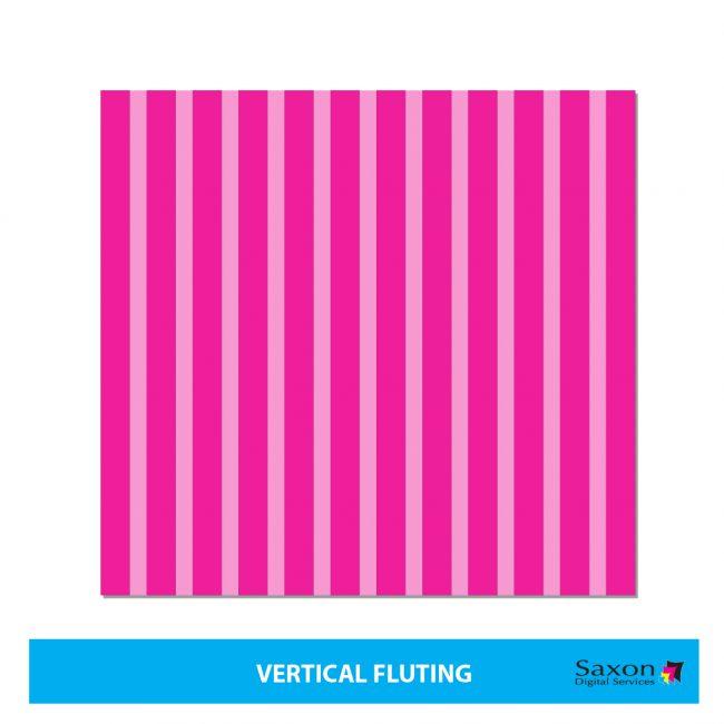Pink vertical fluting seen in correx boards.