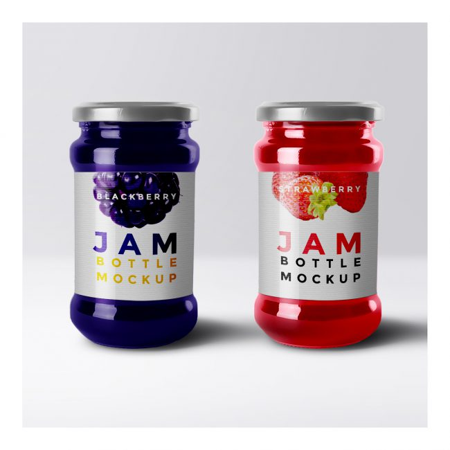 Blackberry and strawberry jams with white vinyl stickers Jam jar mockup with berry logos.