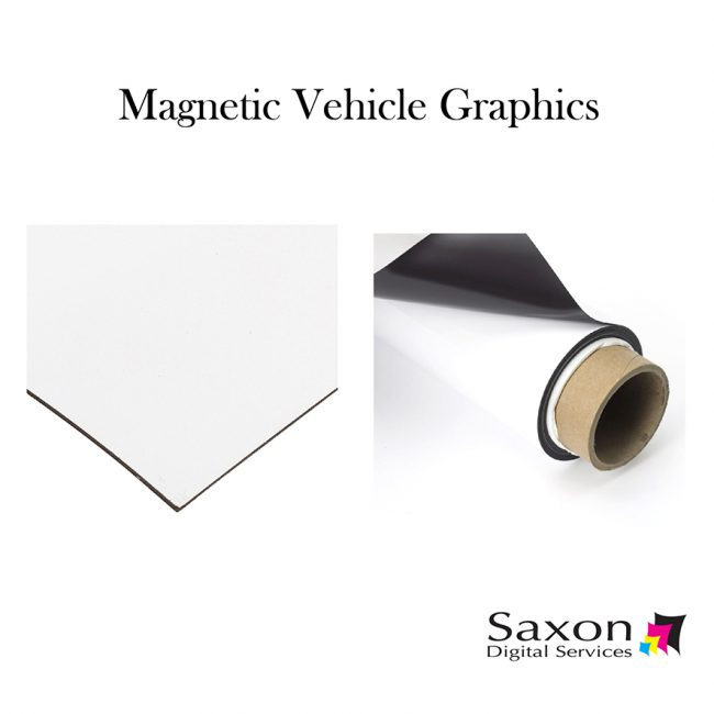 Magnetic vehicle graphics from Saxon Digital Services. A roll of magnetic material used to make the graphics.