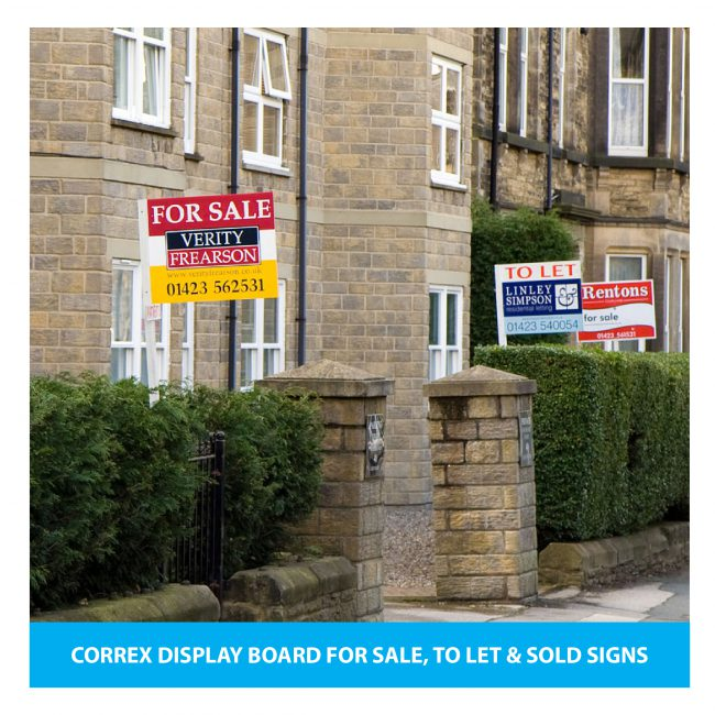 A collection of correx display boards as To Let and Sold signs.
