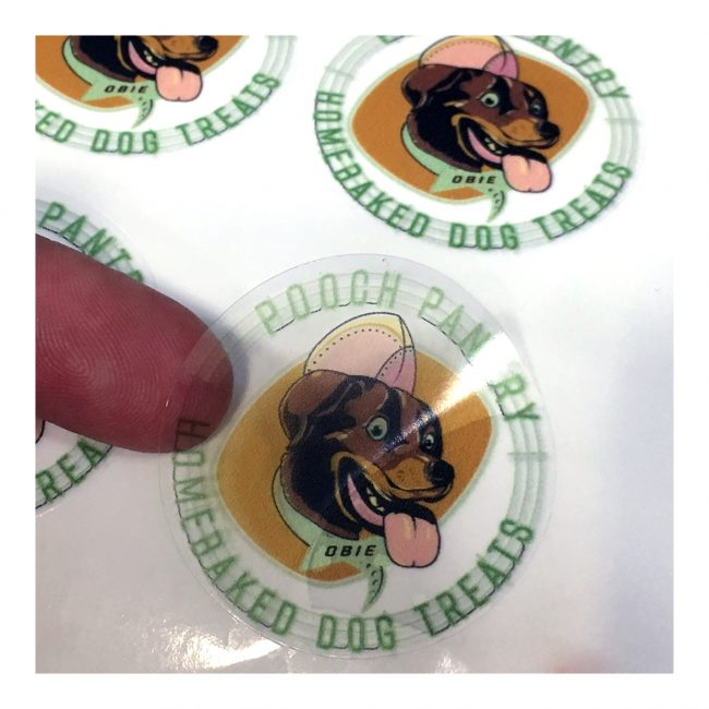 Clear vinyl stickers with the logo for Pooch Pantry Home-baked Dog Treats.