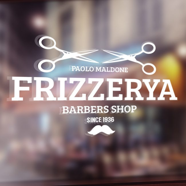 "Window vinyl decals in the shape of scissors and a moustache for ""Frizzerya Barbers Shop"""
