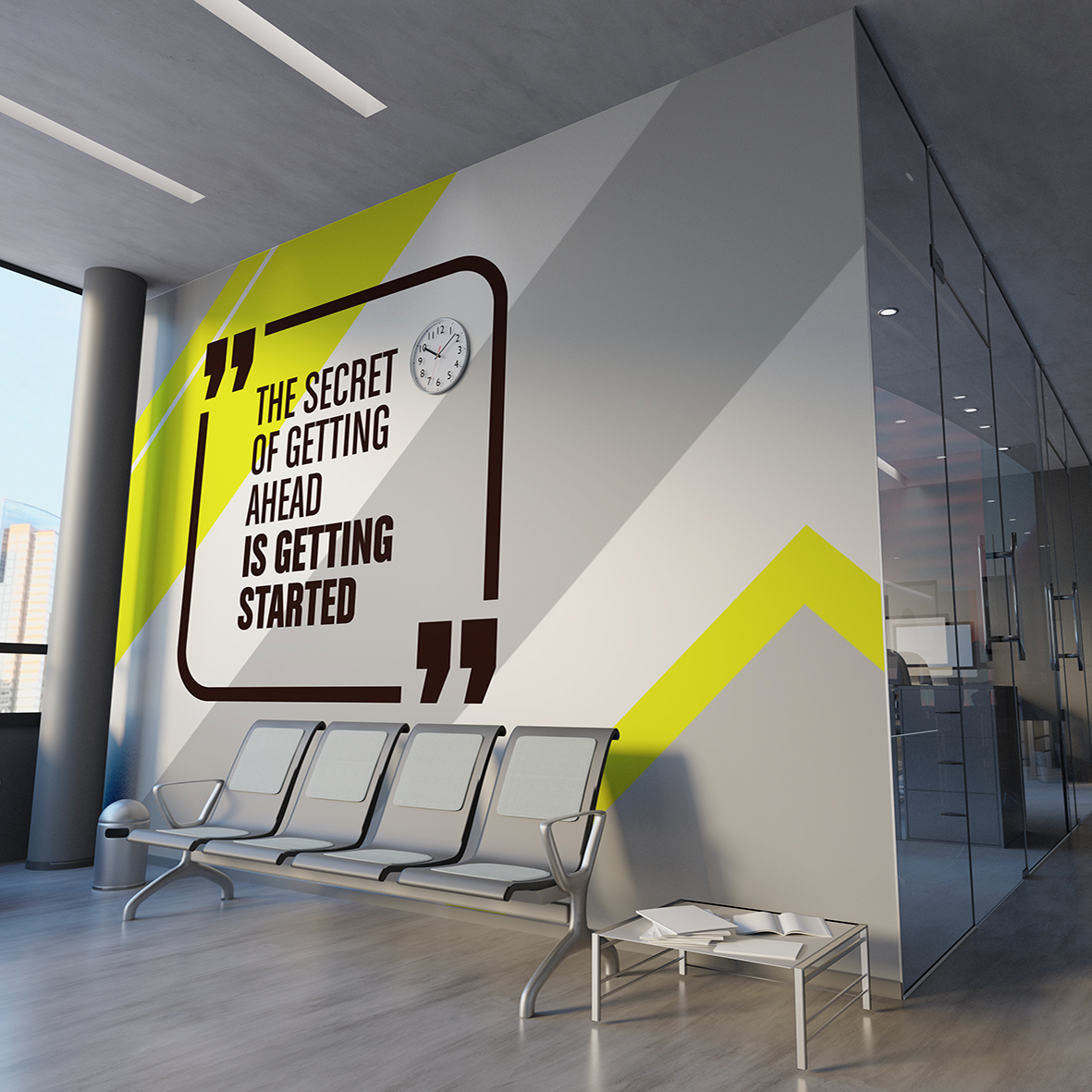 "Wall vinyl stickers for the quote ""the secret of getting ahead is getting started"" in a waiting room."