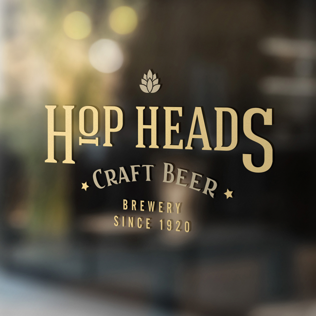 Window wall stickers for Hop Heads Craft Beer. The design is yellow and gold with cut out stars.